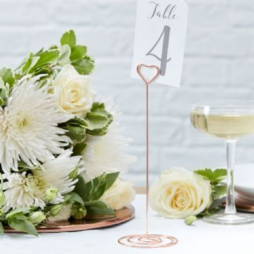 Rose Gold Heart Shaped Table Number Stands